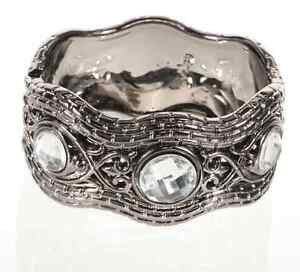 Filigree Jeweled Gunmetal Hinged Cuff Bangle Bracelet Fashion Accessory-FJGMC