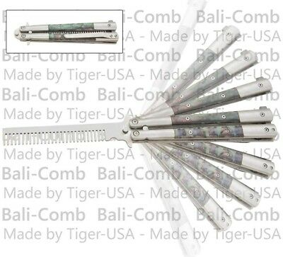 Balicomb Training Practice Butterfly Knife Abalone Handle Balisong Knives Combs