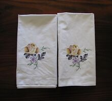 Vintage Yellow Rose Embroidered Cotton Pillowcases Clifton Beach Cairns City Preview
