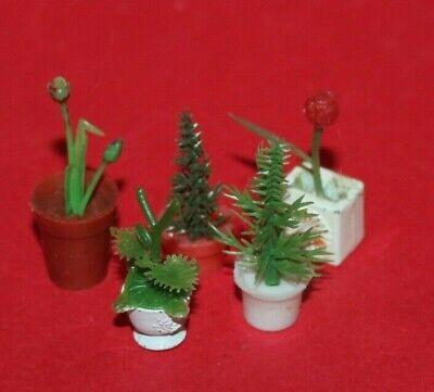 Vintage Dolls House Barton Lundby & Other Plants & Flowers In Pots