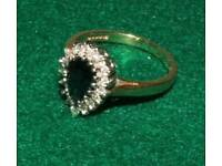 Diamond and tear shaped ring