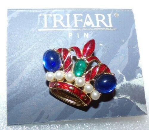 STUNNING SIGNED TRIFARI TM ENAMEL CROWN COLLAR/TAC PIN ON ORIGINAL CARD--NICE