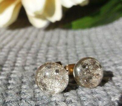 Silber Glitzer Ohrringe (Ohrstecker Cabochon Silber Glitzer Handgemacht Ohrringe Nickelfrei Grau Gold)