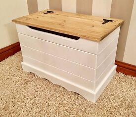 Handmade Country Chic Pine Ottoman / Blanket Box / Storage Box/ White & Wood Top-FREE DELIVERY