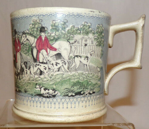 "Antique English ""Coffee Can"" Mug Fox Hunt Decoration Marked Field Sport"