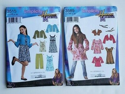 Simplicity Pattern Hannah Montana SZ 8-16 1/2 Top Pants Dress Jacket Lot of 2   Hannah Montana Clothes