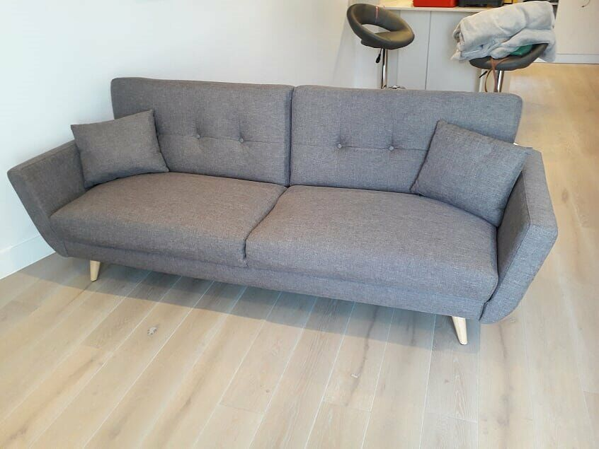 Light Grey Sofa Bed And Single Chair