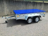 NEW TWIN AXLE TRAILER OPEN TRAILER 8X4 FT 750 kg + FLAT COVER