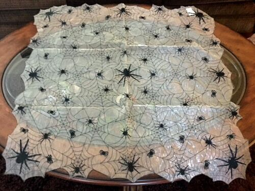 "Halloween Decor Tablecloth Spider Web Translucent Organza 34"" SQ Embroidered"