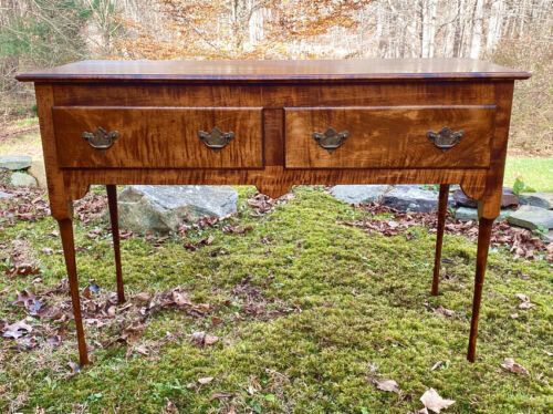 Vintage bench made tiger maple server with 2 drawers American Country Queen Anne