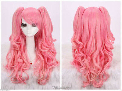 Pink Curly Wavy Long Ponytail Pigtails Anime Cosplay Party Hair Wig Wigs + Cap (Pink Pigtail Wig)