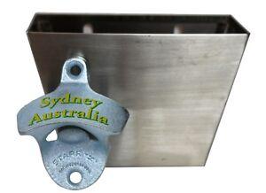 sydney australia wall mounted bottle opener s less steel cap catcher bar ebay. Black Bedroom Furniture Sets. Home Design Ideas