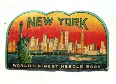 Antique Vtg Needle Book Sample Case Advertising New York Statue of Liberty