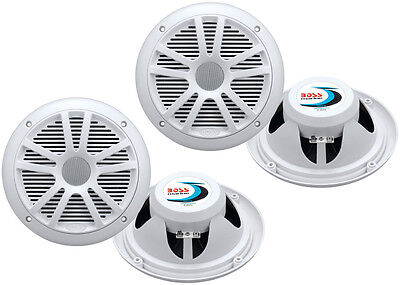 4  New Boss Audio Mr6w 6 5  360W Dual Cone Marine Boat Speakers Stereo  White