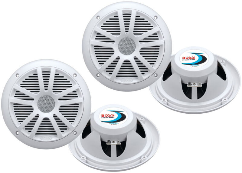 "4) New Boss Audio MR6W 6.5"" 360W Dual Cone Marine/Boat Speakers Stereo- White"