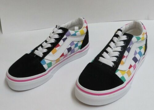 Vans Checkerboard Old Skool Kids 11.0 Rainbow/True White Suede & Canvas NWOB