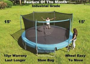 Trampoline & Safety Net Enclosure Sale, New 55. 7, 8, 12, 13, 14, 15, 17, 10 yr Warranty, Shipping Available