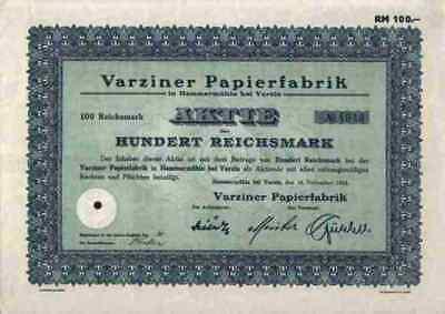 VARZINER Papierfabrik Kepice 1933 Hammermühle Schlesien 100 RM Frisch Stuttgart