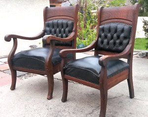 King and Queen antique oak chairs