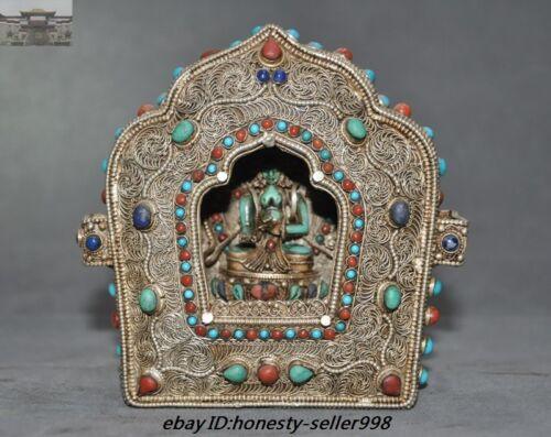 Tibet Buddhism Silver Filigree Turquoise coral Kwan-yin Tara Joss house Shrines