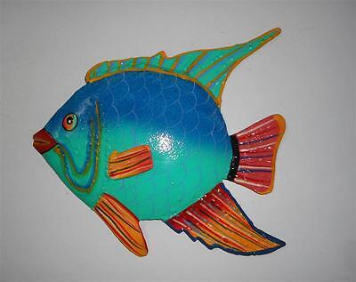 "OUTDOOR HAITIAN 8"" METAL ANGEL FISH TEAL BLUE TROPICAL HANGING WALL ART DECOR"
