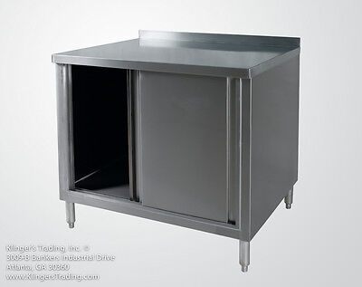 30x36 Stainless Steel Work Table Storage Cabinet With Back Splash