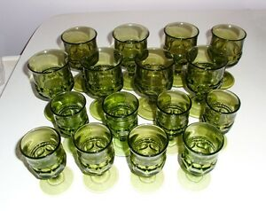 Vintage Indiana Glass Kings Crown Green Thumbprint Goblets