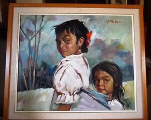 "Beautiful Indigenous Original Painting by M. Fischer ""Sisters"""