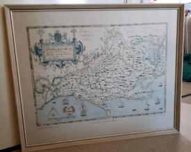 Old Dorsetshire Map Print Framed