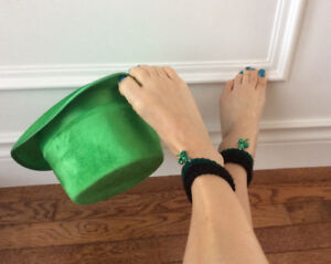 St Patrick's Day crocheted ankle cuffs