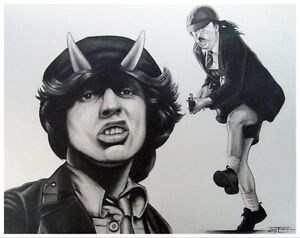 Angus Young (AC/DC)  & other portrait drawings St. John's Newfoundland image 1