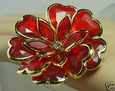 Statement ENORMOUS Ice Ruby Red FLOWER Heart Petals Rhinestone COCKTAIL Ring
