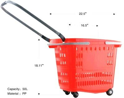 Super Quality Shopping Basket With Metal Handle Strong Wheels Red Pack Of 8