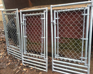 3 fence panels with doors