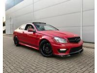 2013 63 reg Mercedes-Benz C63 AMG 6.3 Coupe +RED + Cream LEATHER+ Carbon Styling