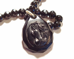 1800s Mourning VICTORIAN Whitby Jet HAND CARVED Cameo NECKLACE