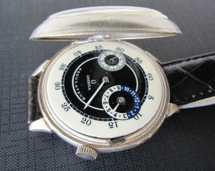 Vintage Oversize Men OMEGA Regulateur Manual Winding Watch SWISS Made, Military Issued, SILVER Case