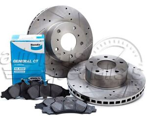 Holden-Commodore-VT-VU-VX-Slotted-Drilled-Front-Disc-Rotors-Bendix-Brake-Pads