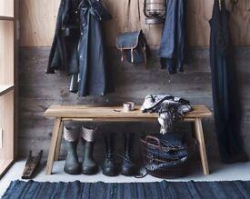 2 perfect condition hardwood benches Ikea Skogsta £60