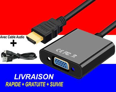 Câble Convertisseur Adaptateur HDMI Mâle vers VGA Femelle 1080P Video Audio Noir