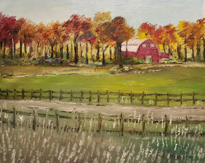 Oil Painting - The Red Barn In Autumn
