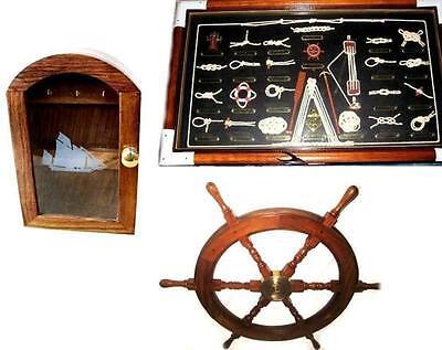 maritim- Schlüsselkasten-Segler/ Steuerrad 45 cm/ Große Knotentafel-deutsch