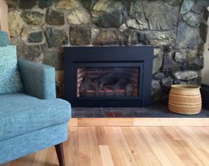 Cheap winter heat! Stylish propane fireplace insert.