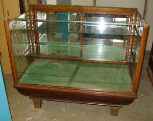 Antique oak and glass display case