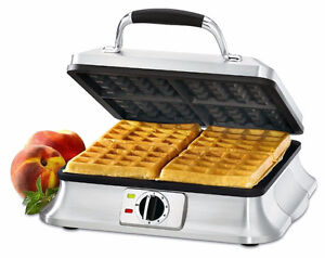 L@@K ⚡ CUISINART STEEL NEW 4 SLICE BELGIAN WAFFLE IRON MAKER !!!