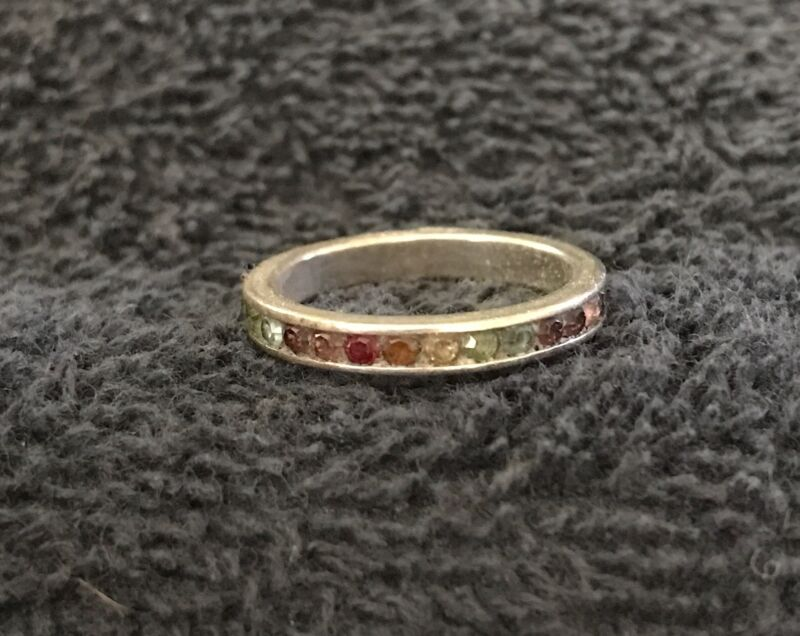 Sterling Silver ~2 grams Small Stones Surround Simple Band Ring Size 6
