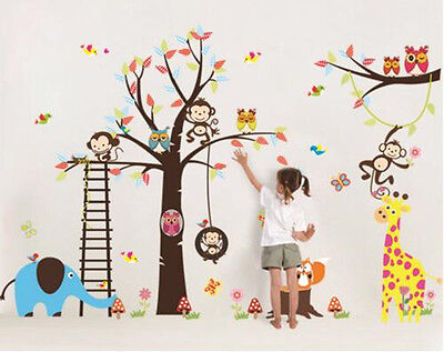 Jungle animal Removable Nursery Wall Stickers Vinyl Room Decor Mural for Kids