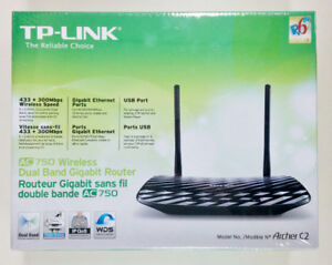New TP-Link AC750 Wireless Dual Band Gigabit Router (Archer C2)