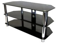 Black glass tv stand and a tall 5 tear black glass unit to match