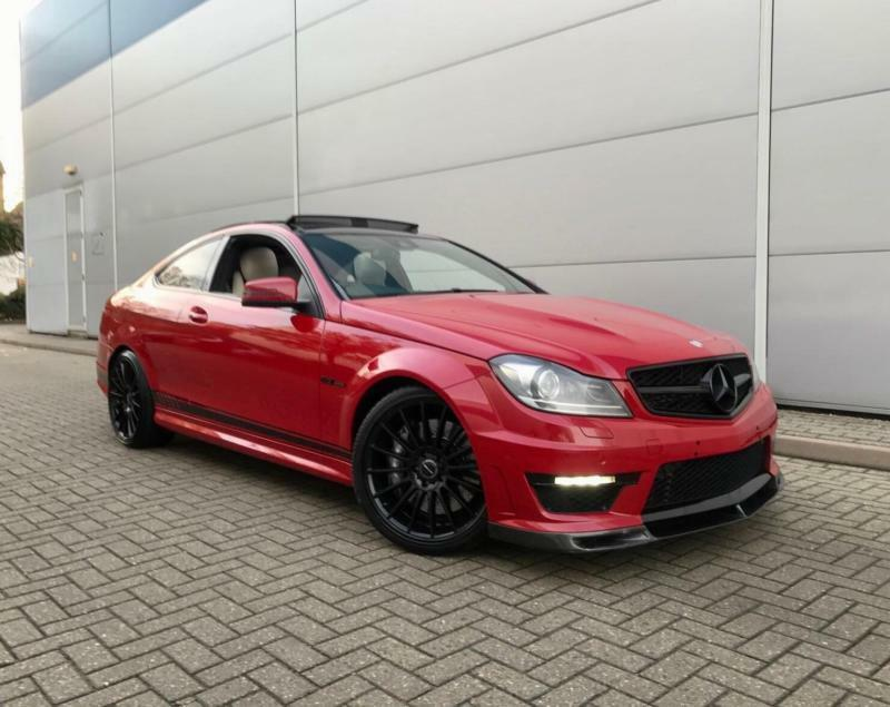 2013 63 Reg Mercedes Benz C63 AMG 6.3 Coupe +RED + Cream LEATHER+ Carbon